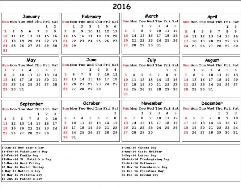 2016 Calendar With Catholic Christian Holidays