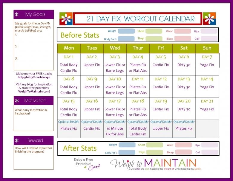 21 Day Fix Workout Schedule Free Printable Pdf