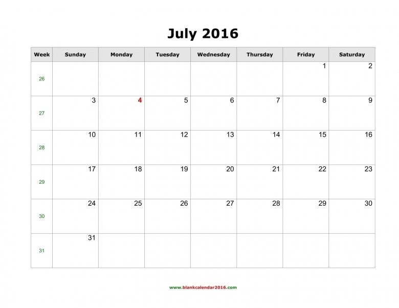 Blank Calendar For July 2016