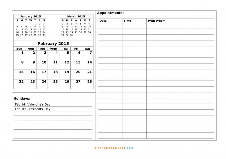 February 2015 Calendar Free Printable Calendar Templates