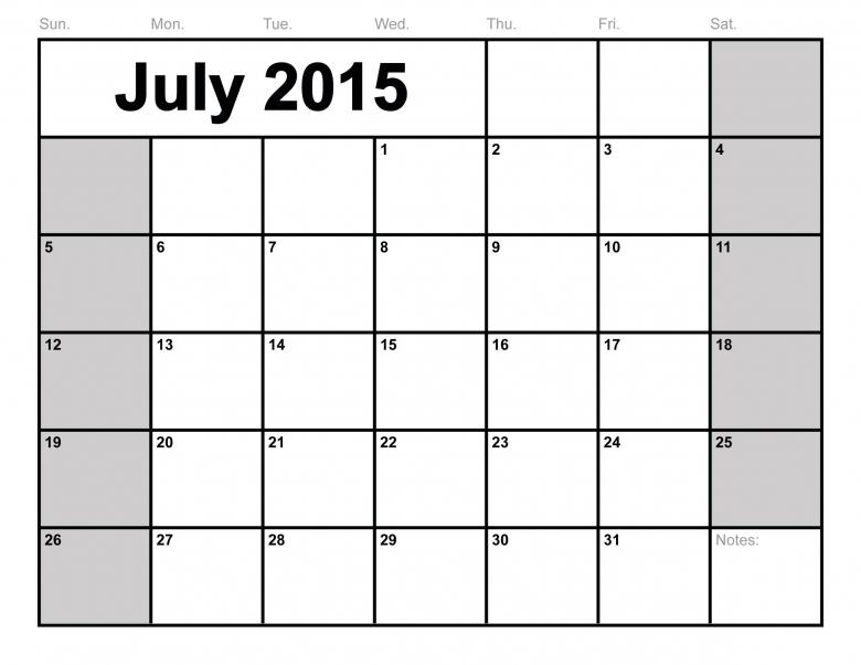 July 2015 Calendar Printable Monthly Blank Calendar Template