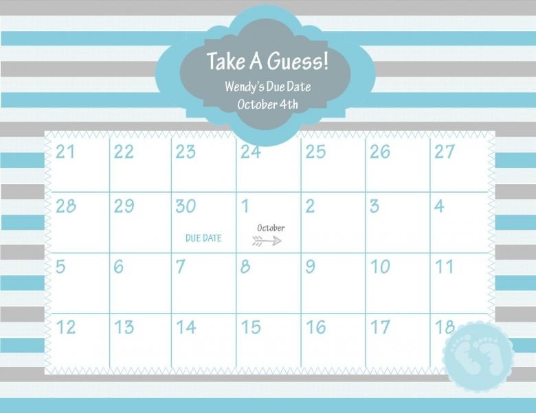 Printable Due Date Calendar Ba Shower Game Chicwrist