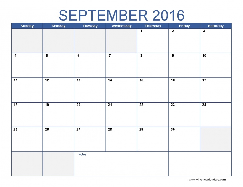 September 2016 Calendar Image When Is Calendar