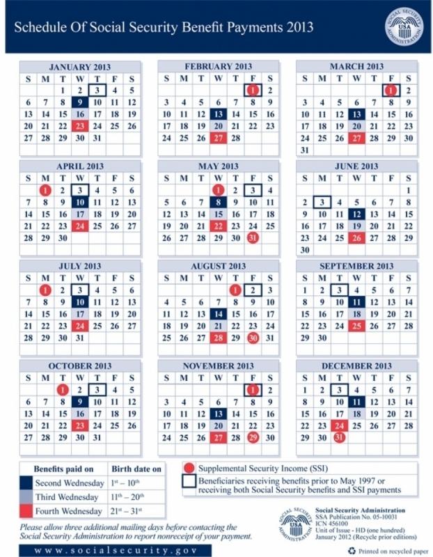 Social Security Payment Calendar 2016 Calendar Printable 2016