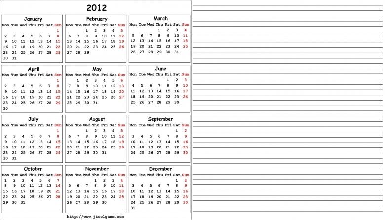 2012 Calendar Printable Calendar 2012 Calendar In Multiple  xjb