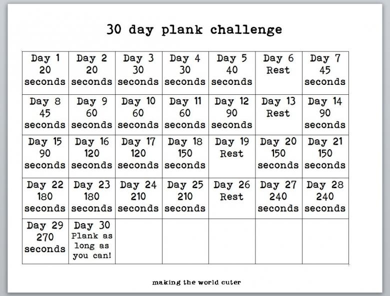 30 Day Plank Challenge Chart Making The World Cuter3abry