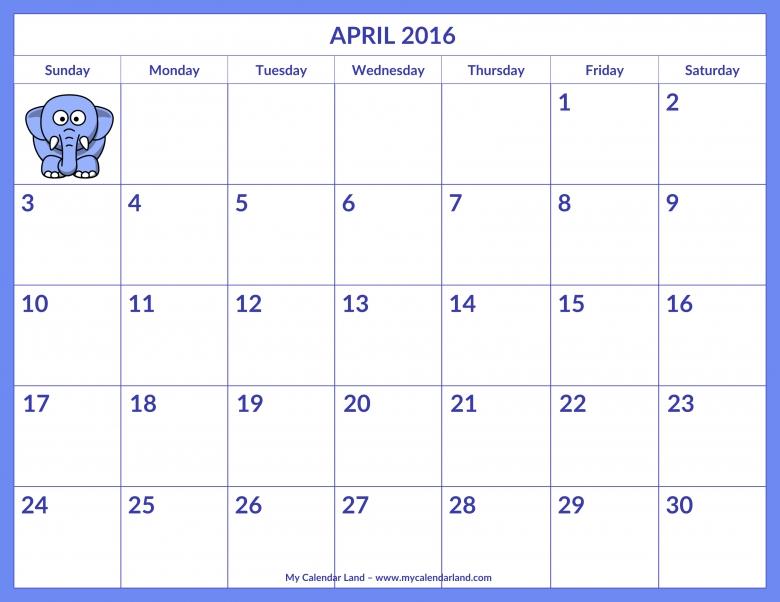April 2016 Calendar My Calendar Land 89uj
