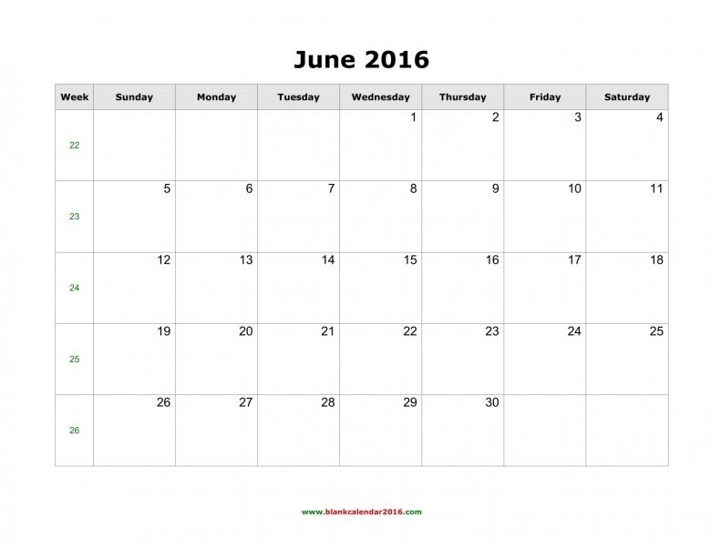 Blank Calendar For June 20163abry