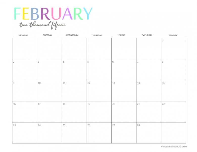Free 2015 Printable Calendar Shiningmom Fun And Colorful  Xjb
