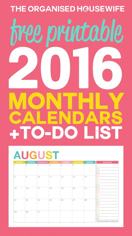 Free Printable 2016 Monthly Calendar With To Do List The3abry