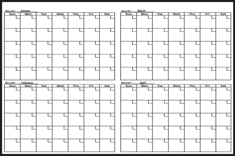 Jan Feb March April 4 Months Calendar 20163abry