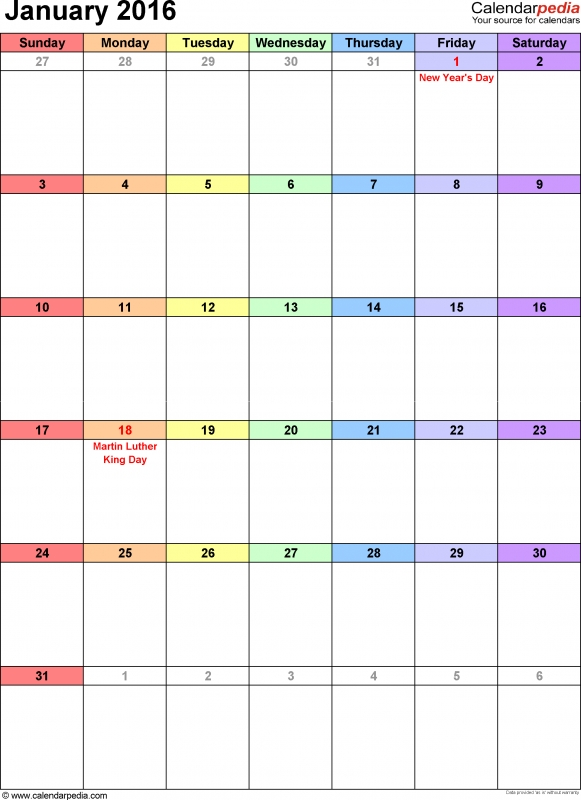 January 2016 Calendars For Word Excel Amp Pdf3abry