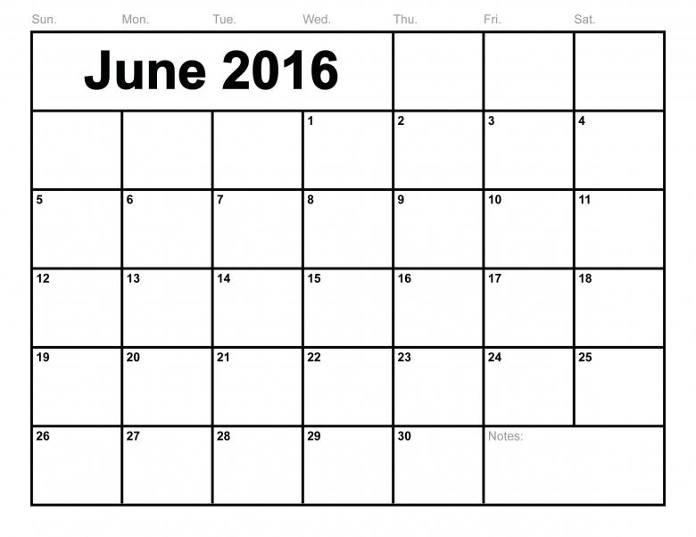 June 2016 Calendar Printable Template 8 Templates3abry