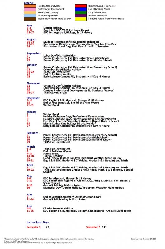 Pasodale Elementary School District Instructional Calendar3abry