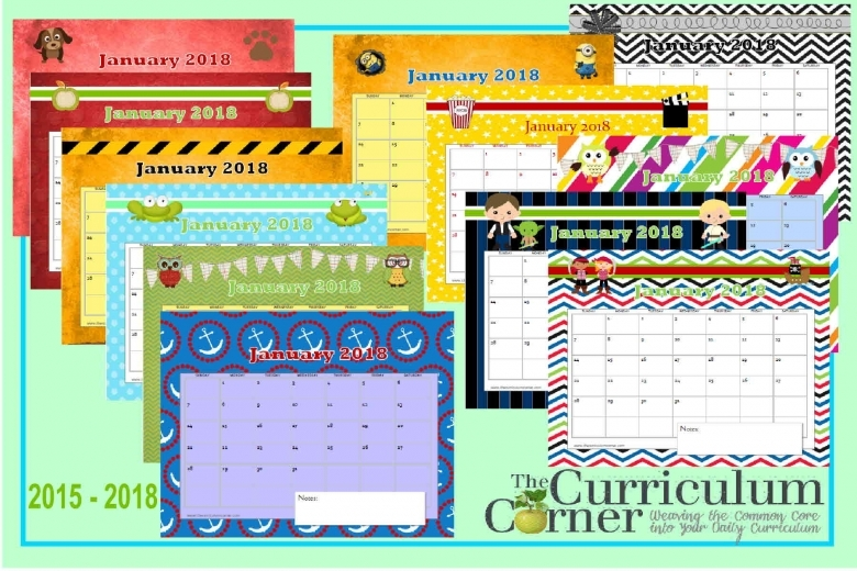 Printable Calendar Pages The Curriculum Corner 123  Xjb