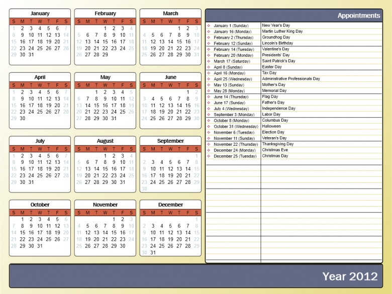 Printing A Yearly Calendar With Holidays And Birthdays Howto Outlook 89uj