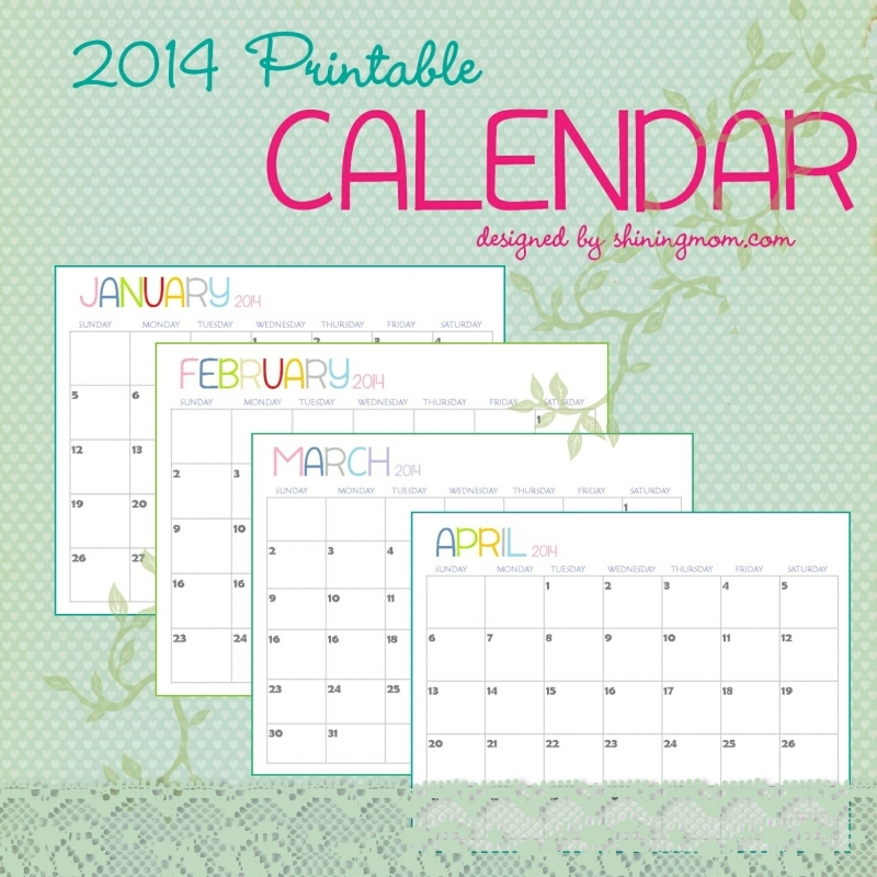The Free Printable 2014 Calendar Shining Mom Is Here  Xjb