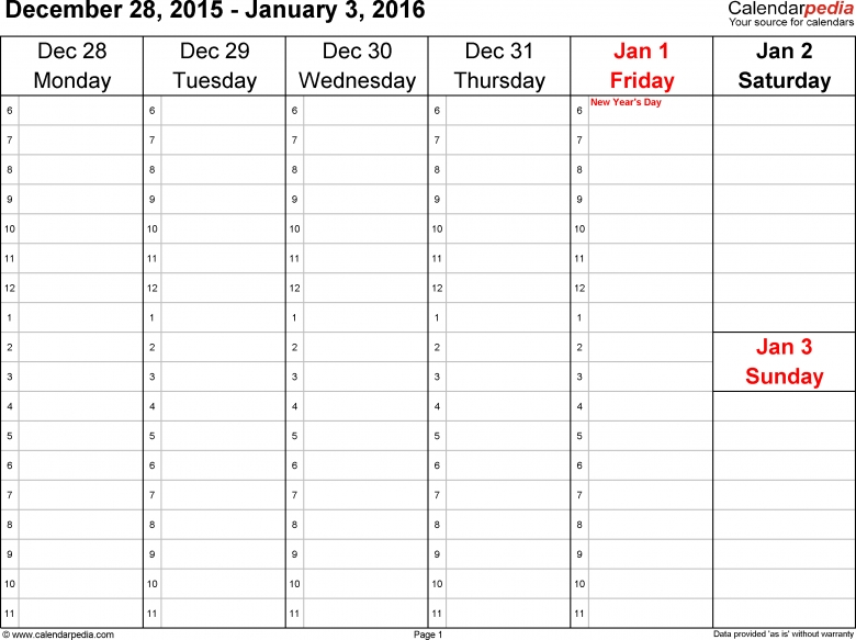 Weekly Calendar 2016 For Word 12 Free Printable Templates3abry