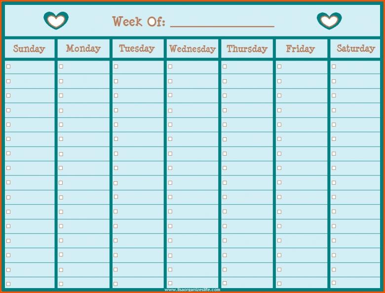 11 Printable Weekly Calendars Survey Template Words 89uj
