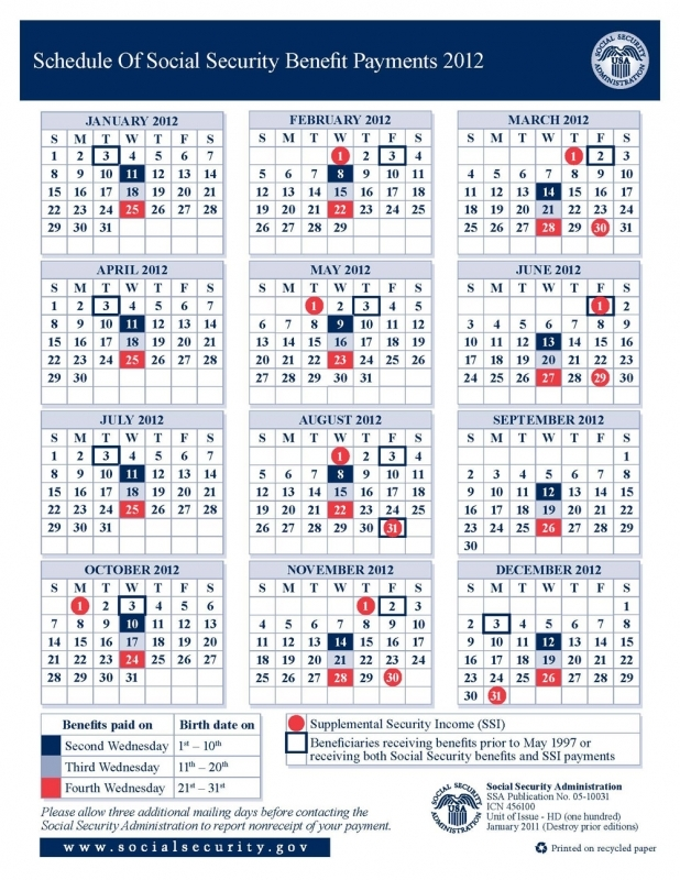 2012 Social Security Disability Amp Ssi Benefits Pay Calendar  Xjb