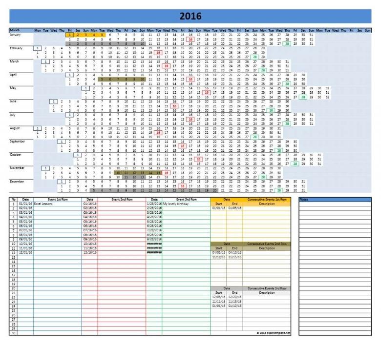 2016 Calendar Templates Microsoft And Open Office Templates  xjb