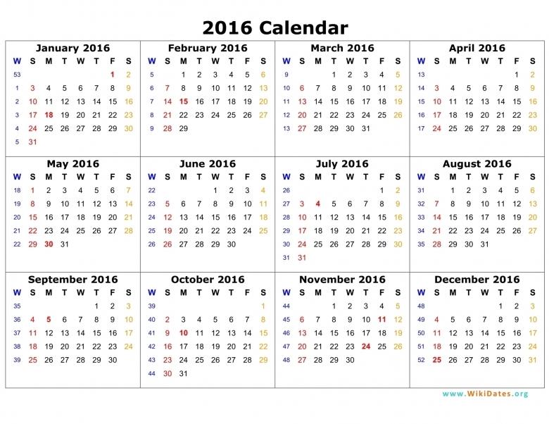 2016 Calendar Wikidates  Xjb