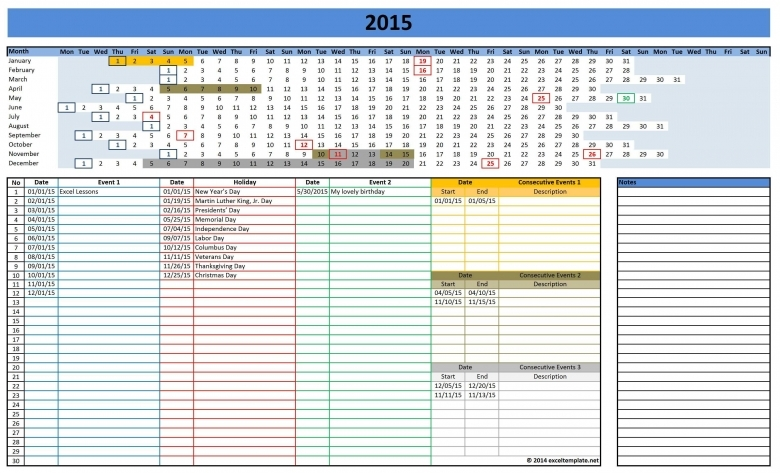 2016 Calendars Excel Templates  Xjb