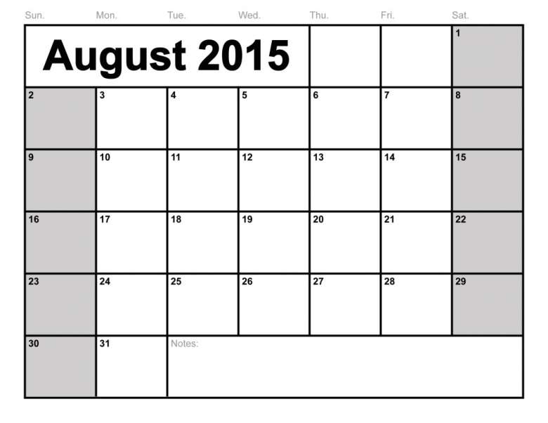August 2015 Weekly Calendar With Holidays Amp Events  Xjb