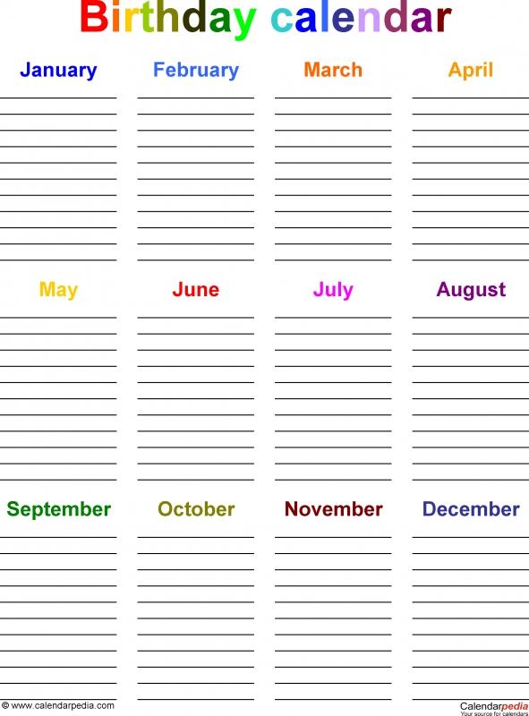 Birthday Calendars 7 Free Printable Excel Templates  Xjb