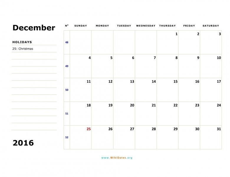 December 2016 Calendar Wikidates  Xjb