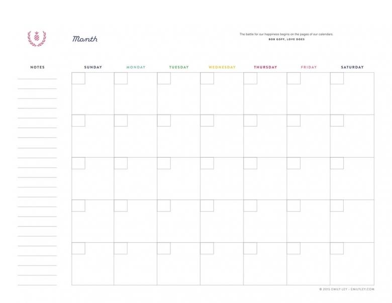 Free Printable Monthly Calendars Lined 2016 Blank Calendar3abry