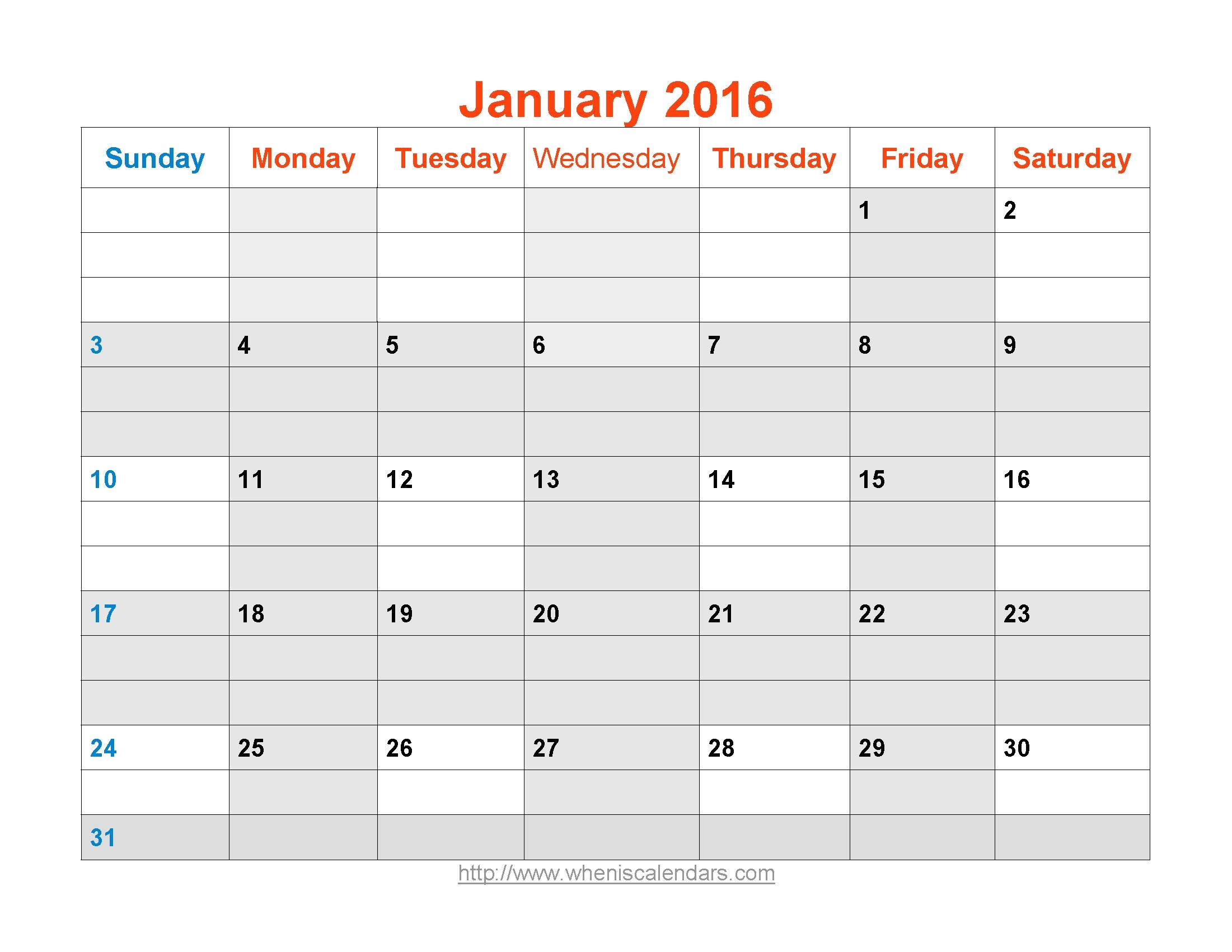 January 2016 Calendar Printable Template Word Pdf Image3abry