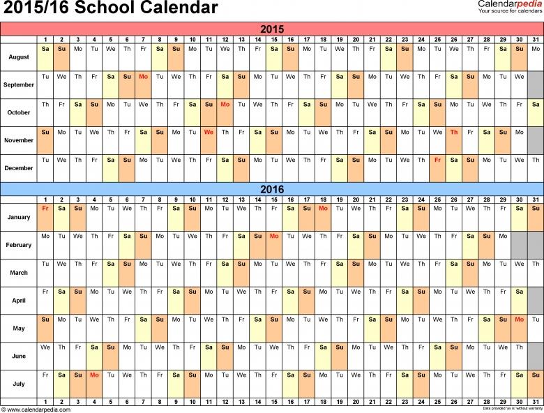 School Calendars 20152016 As Free Printable Word Templates3abry