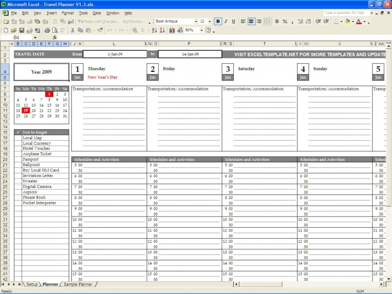 Travel Planner Excel Templates  Xjb
