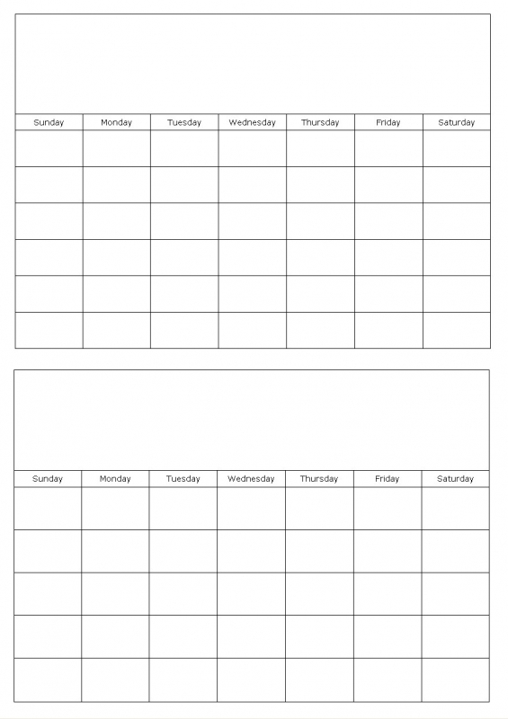 Two Months On A Page Blank Calendar Template Custom Calendar Maker  Xjb