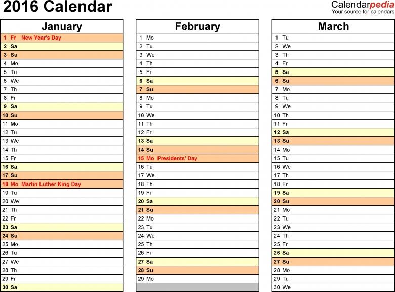 2016 Calendar Pdf 16 Free Printable Calendar Templates 89uj