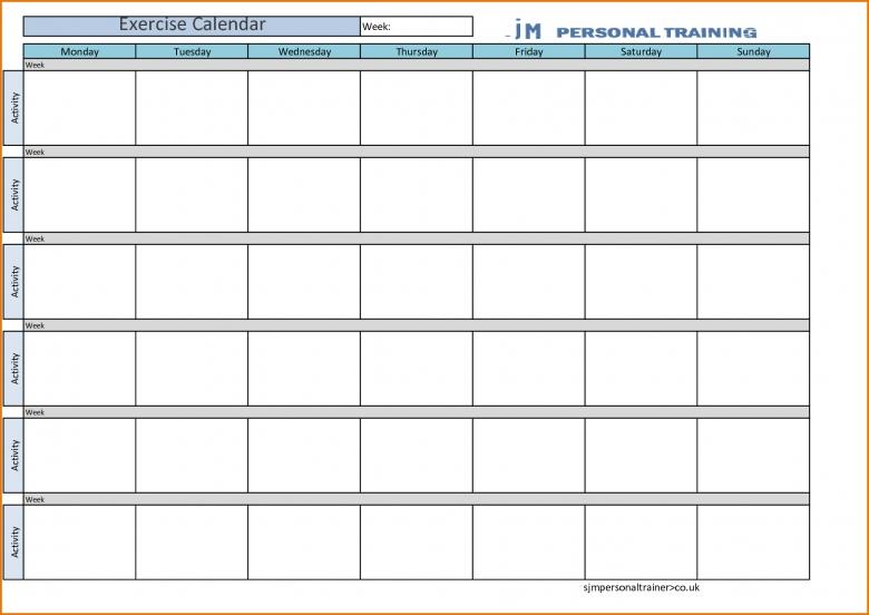 8 Blank Workout Calendar Divorce Document  Xjb