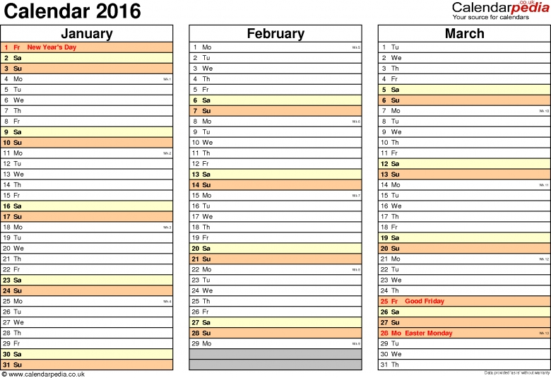 Calendar 2016 Uk 16 Free Printable Word Templates 89uj