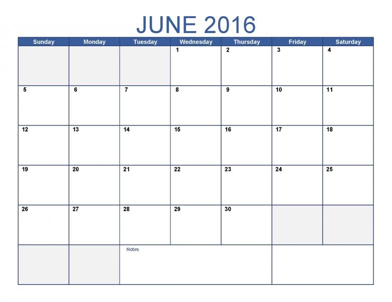June 2016 Printable Calendar Blank Templates Printable  Xjb