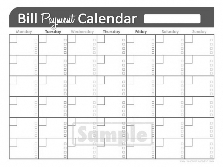 Printable Bill Payment Calendar Printable Worksheets  Xjb