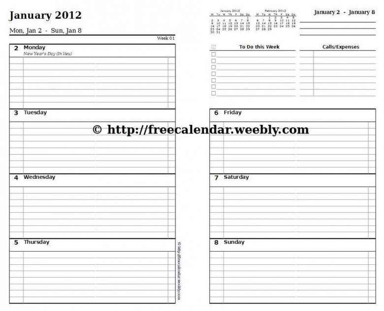 Printable Weekly Calendar Template3abry