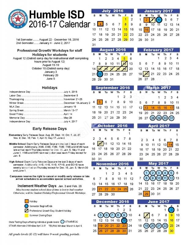 2016 2017 Humble Isd Calendar Humble Independent School 89uj