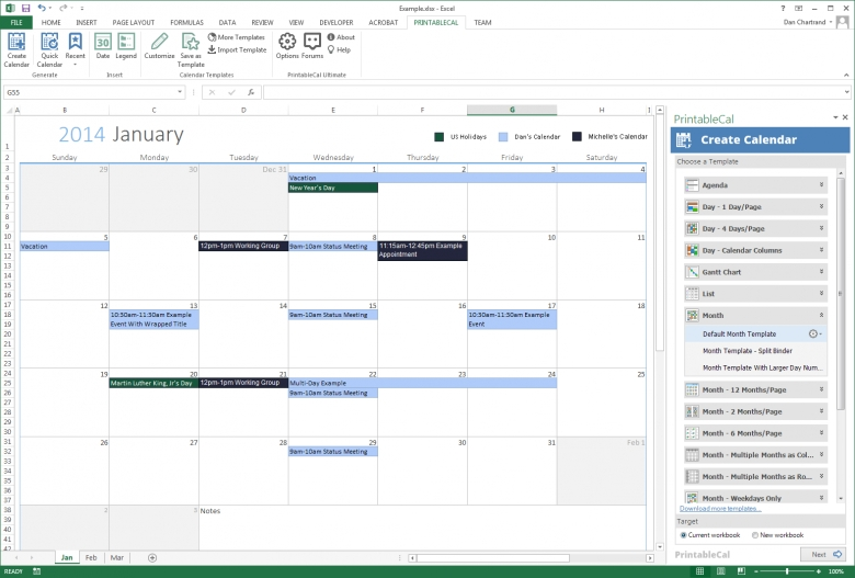 Generate Printable Calendars Using A Month Template3abry