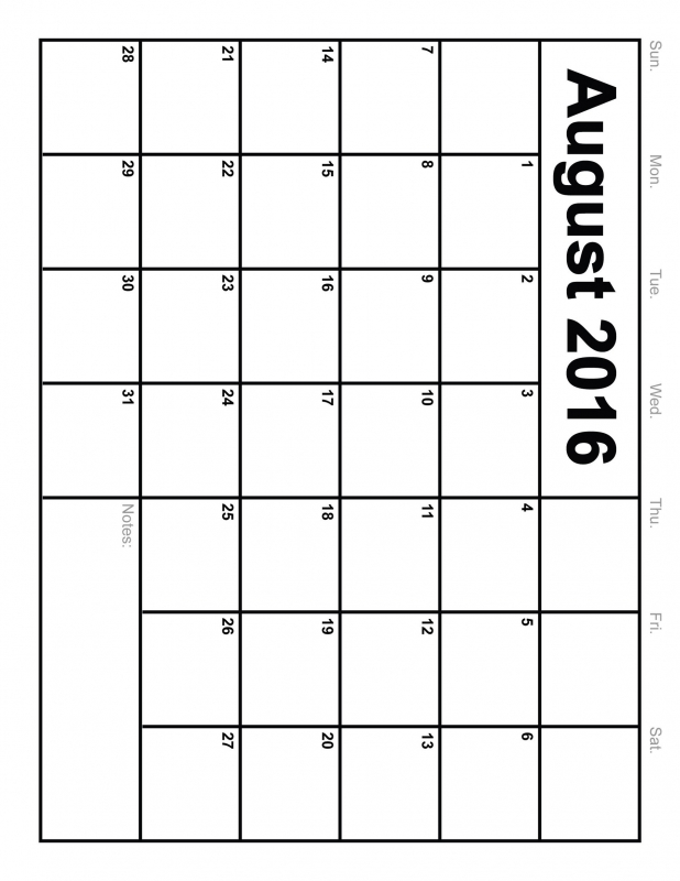 10 Best Images Of 8 X 11 Printable Calendar August 2016  xjb