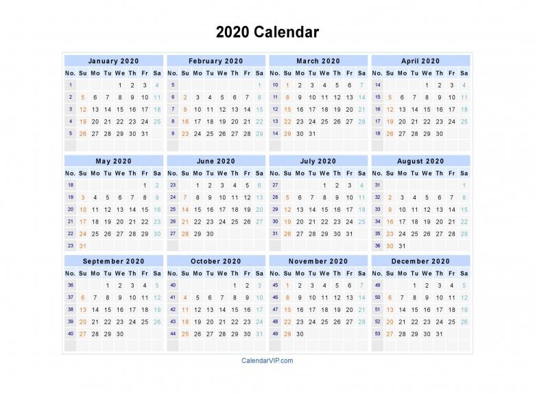 2020 Calendar Blank Printable Calendar Template In Pdf Word Excel  xjb