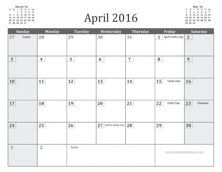 April 2016 Calendar With Holidays Printable 7 Templates3abry