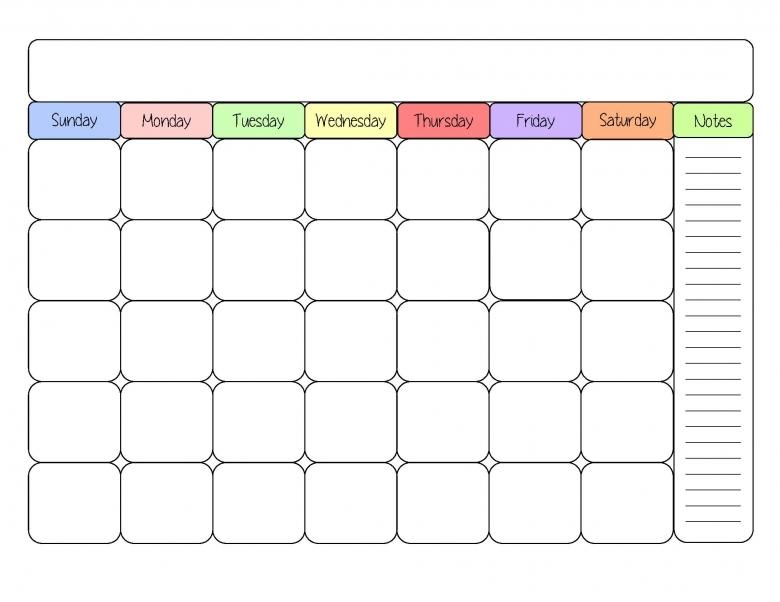 Cute Blank Calendar Templates Pngs3abry