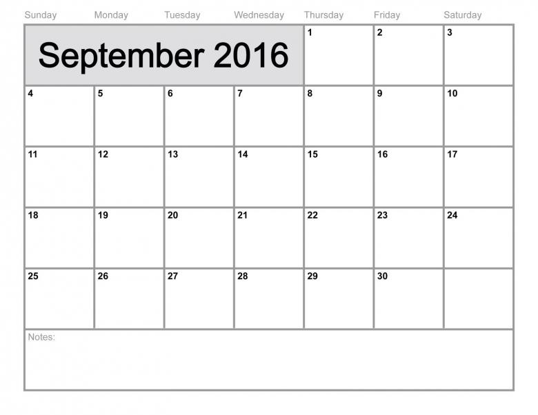 September 2016 Free Printable Calendar  xjb