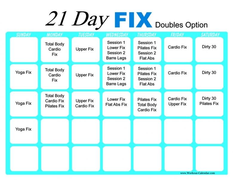 21 Day Fix Workout Calendar Print A Workout Calendar3abry