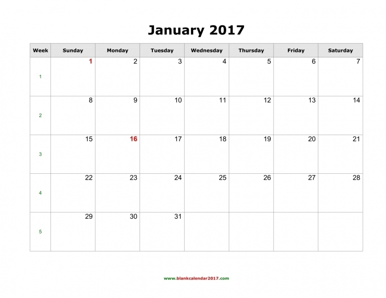 Blank Calendar 2017  Xjb